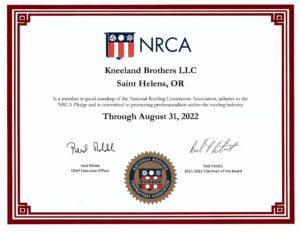 National Roofing Contractors Association certificate